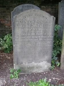 John Gwinnett's Tombstone